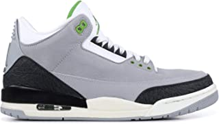 136064-006: Mens Air 3 Retro Tinker Light Grey/Chlorophyll/Black Sneakers (11.5 D(M) US Men)