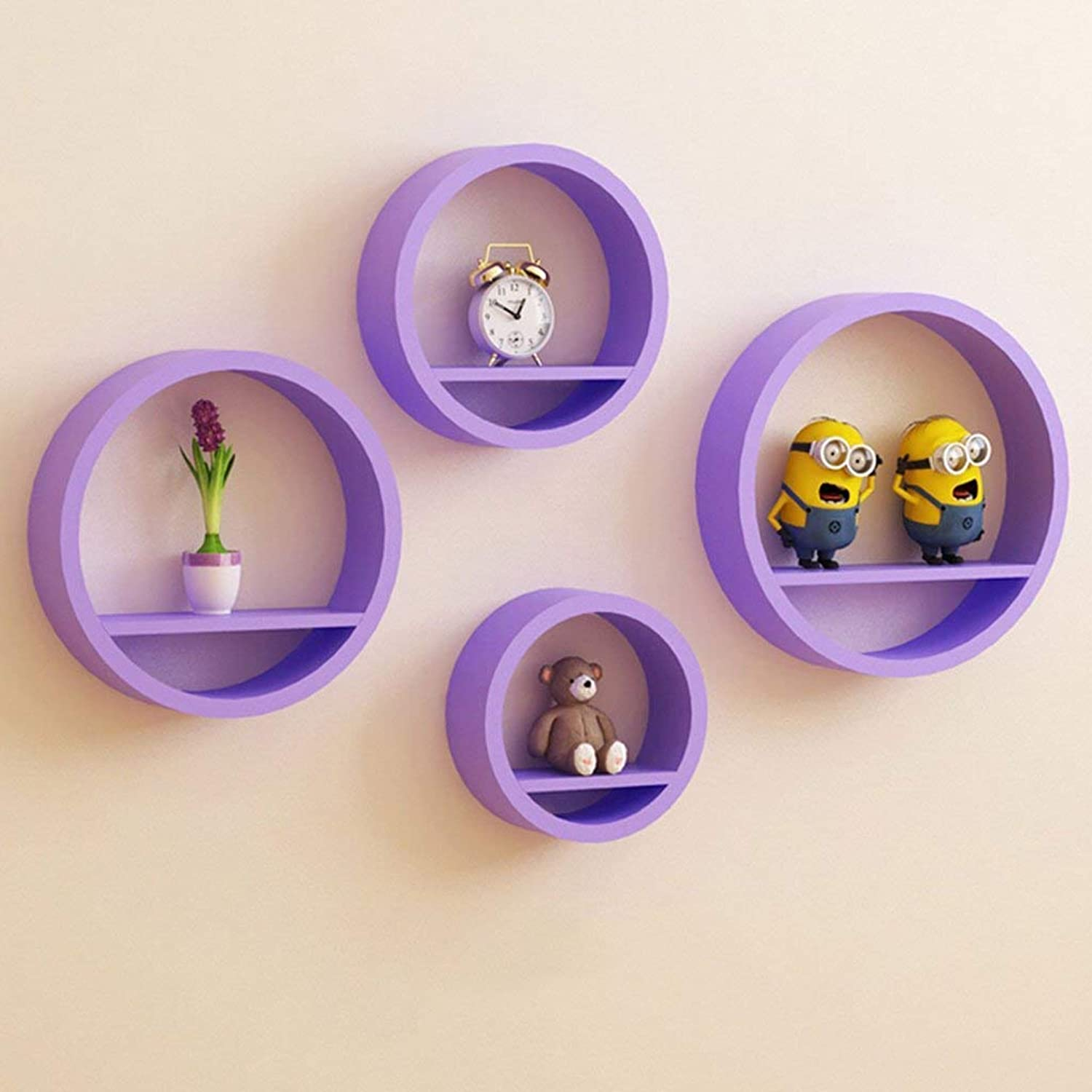 A Set of Four Round Wall Shelves, Living Room Wall Dining Room Wall Hanging Shelf,Save Space,Purple