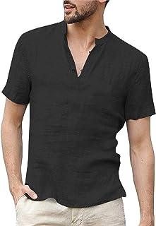 COOFANDY Mens Cotton Linen Henley Shirts Short Sleeve Loose Summer Beach Yoga Casual Shirt Tops