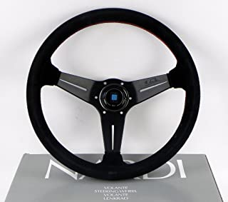 Nardi Steering Wheel - Deep Corn - 350mm (13.78 inches) - Black Suede Leather with Red Stitching - Classic Horn Button - Part # 6069.35.2094