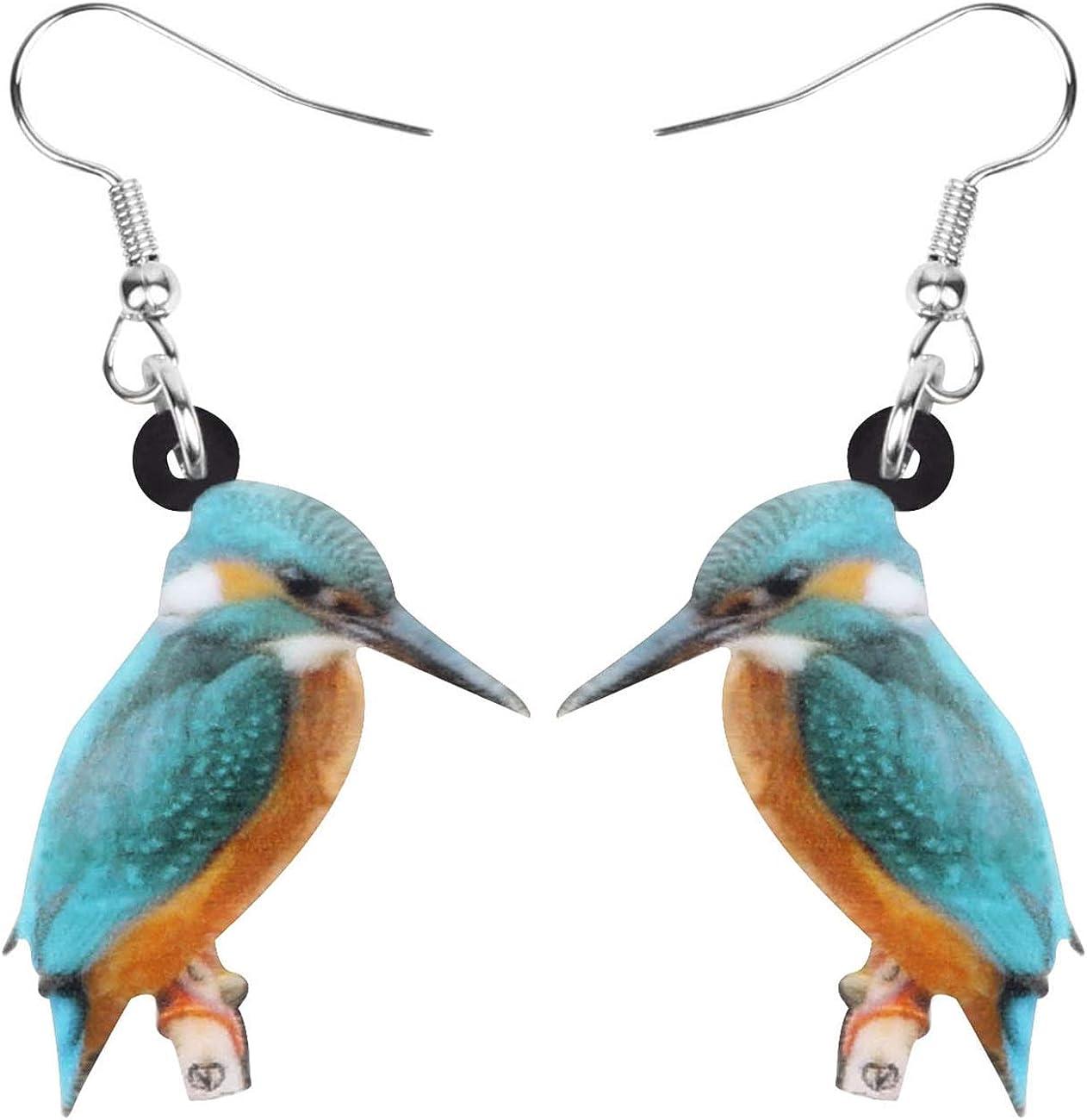 NEWEI Acrylic Blue Kingfisher Bird Earrings Dangle Drop Printing Aesthetic Animal Jewelry For Women Girls Teen Charm Gifts