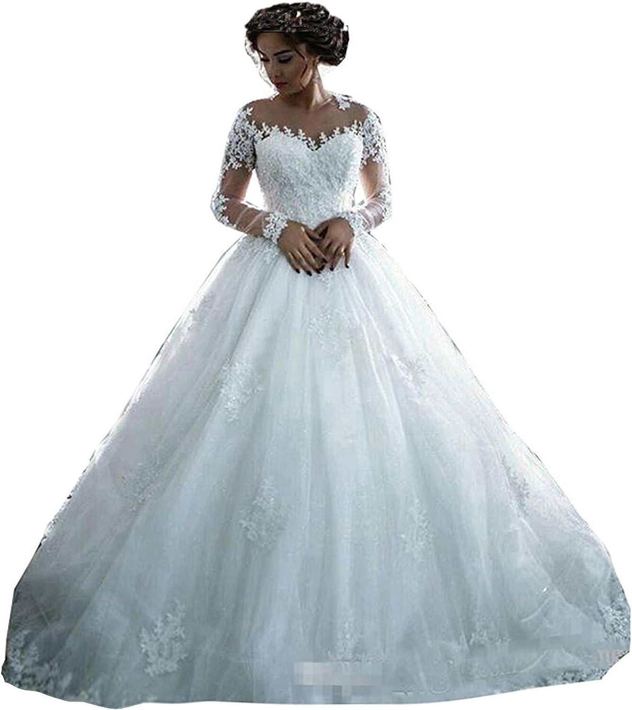 Fanciest Women's Lace Wedding Dresses Long Sleeve Wedding Dress Ball Bridal  Gowns White