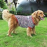 feiling Camiseta a rayas para perros grandes, cómoda camiseta de jersey para perros, de algodón, para perros pequeños y medianos (26#, A)