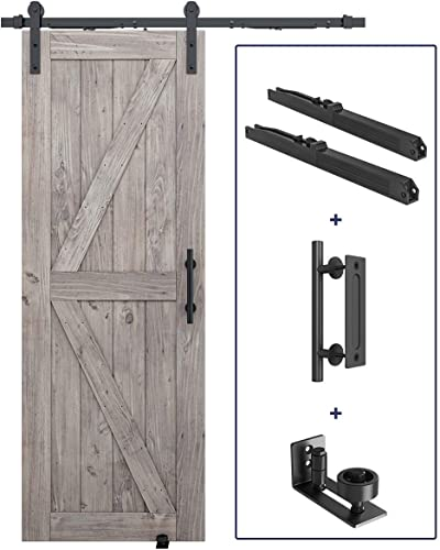"""2021 5FT discount Pre-Drilled Soft Close Sliding Barn Door 2021 Hardware Kit, Handle and Floor Guide Bundle- Smoothly and Quietly - Simple and Easy to Install - Fit 30"""" Door Panel (J Shape) sale"""