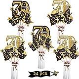 Blulu Juego de Decoración de Fiesta de Cumpleaños Palillos de Centro de Mesa Dorado Toppers de Mesa Brillantes Materiales de Fiesta, 24 Piezas (70 Cumpleaños)
