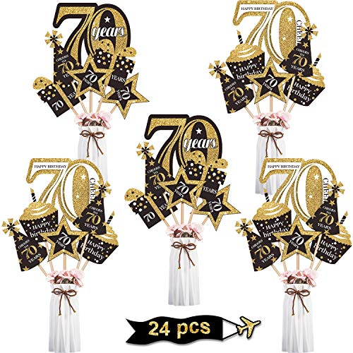 Blulu Birthday Party Decoration Set Golden Birthday Party Centerpiece Sticks Glitter Table Toppers Party Supplies, 24 Pack (70th Birthday)