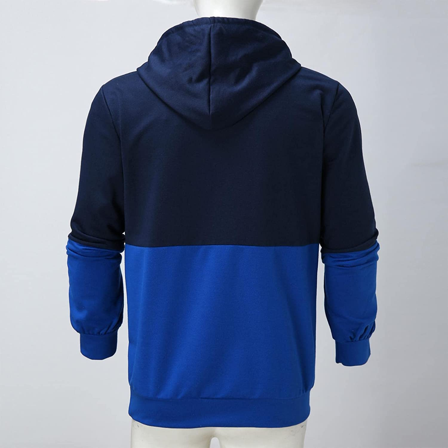 Qsctys Men's Pullover Hoodies Blend Fleece Long Sleeve Hooded Patchwork Contrast Color Fashion Sweatshirts with Kanga Pocket