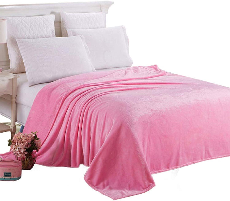 Bedding Fluffy Throw Blanket Soft Microfiber Flannel Coral Fleece Sofa Bed Blanket Solid color Multi-Size,Pink,150  200Cm