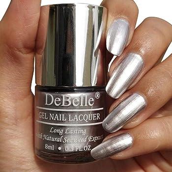 DeBelle Gel Nail Lacquer Chrome Silver 8 ml -(Metallic Silver Nail Polish)