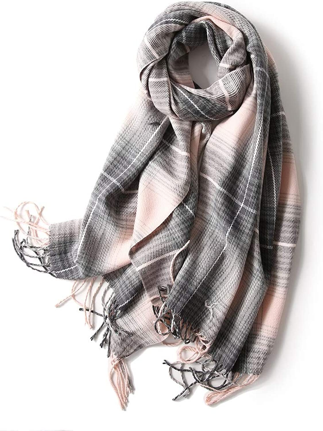 Ladies Scarf Transition Gradient Plaid Autumn Winter Plaid Warm Scarf 68cm X 200cm (color   A)