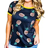 Holeider Frauen 2018 neues T-Shirt Sommer Frauen beiläufige Bluse Sommer Frauen Tops Sommer, Damen Ananas Druck Kurzarm T-Shirt Tops Bluse T-Shirt beiläufige lose Shirt (L)