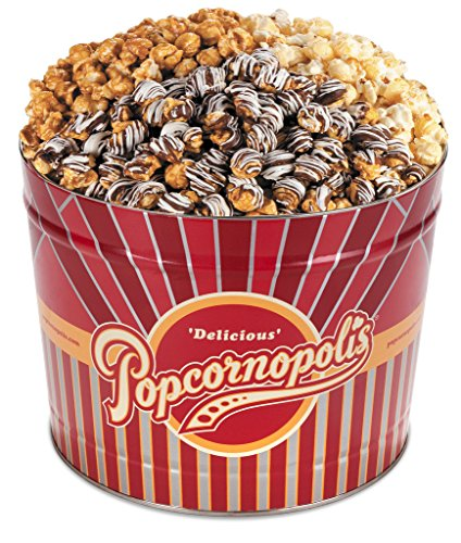 Popcornopolis Gourmet Popcorn 2 Gallon Tin - Premium Including Caramel, Zebra and Kettle Corn