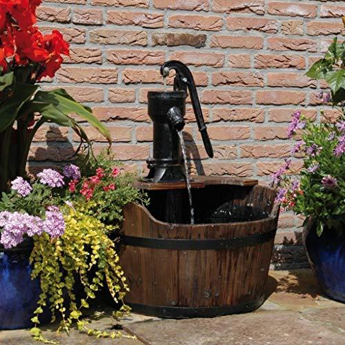 WELLIKEA Ubbink Gartenbrunnen Holzfass