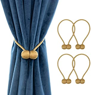 Two Pair Magnetic Curtain Tiebacks Decorative Rope Holdback Holder (2Pairs-gold)