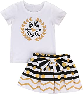Little Sky Baby Girl Outfit Little & Big Sister Bodysuit Tops Bowknot Striped Skirts Dress Set
