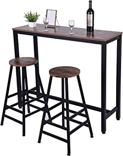 US Fast Shipment Quaanti Pub Bar Table,Counter Height Dining Table,Dining High Top Table,Industrial Kitchen Bar Table Chairs Stools Set for Small Space,Breakfast Nook,Dining Room,Living Room (Brown)