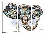 Cuadros Camara Poster Fotográfico Decoracion Mandala Animal Elefante, Fondo Blanco Tamaño total: 97 x 62 cm XXL, Multicolor