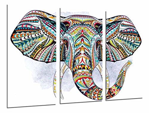 Cuadros Cámara Cuadro Fotográfico Decoracion Mandala Animal Elefante, Fondo Blanco, 97 x 62 cm XXL