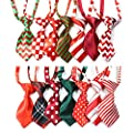 Yagopet 10pcs/pack Christmas Small Cat Dog Ties Xmas Dog Neckties Bow Ties Cat Dog Ties for Christmas Festival Dog Collar Dog Grooming AccessorieS
