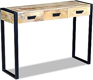 Festnight Mesa Consola de Madera con 3 Cajones Estilo Industrial 43x33x51 cm