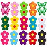 30Pcs Iron On Patches Flower Butterfly Applique Patches Mixed Color Decorative Patches Embroidered Patch Sew On Iron On Patch for Clothes Dress Pants Hat Jeans Sewing Flowers Applique DIY Accessory