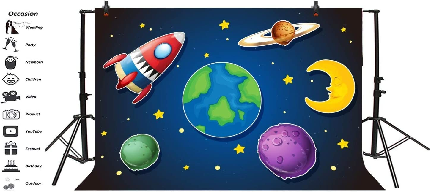 15x10ft Cartoon Space Theme Backdrop Boy Kids Birthday Party Baby Shower Decoration Video Drapes Wallpaper Rocket Planet Earth Moon Stars Background Cloth Photo Studio Props