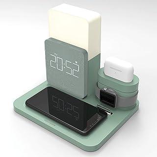 Multifunktionell 3i1 snabb trådlös laddare, kompatibel med QI trådlös laddstation, med nattlampa och klocka, trådlöst ladd...