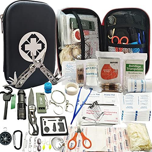 Kit de Survie d'urgence 241en 1 Multi-Outils De Survie Vitesse Kit, 241Pcs Tactique IFAK Pouch Outdoor Gear Sac Trauma d'urgence pour La Randonnée Camping Hunting Adventures,Noir