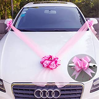 DIY Wedding Car Flower Plate 10 Ribbon Bows Set Door Handle Ornament Supplies Party Events Accessories Wedding Decoration Katoot (Pink)