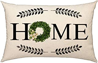 4TH Emotion Fall Home Boxwood Wreath Throw Pillow Cover Farmhouse Autumn Cushion Case for Sofa Couch 12x20 Inches Cotton Linen