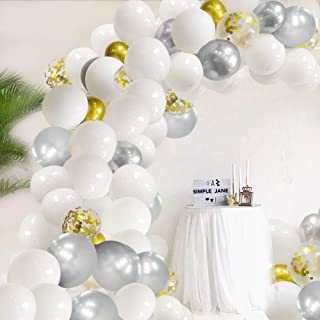White Balloons Arch Garland Kit White Gray and Gold Latex Balloons with 16Ft Balloons Strip Glue Dots Balloons for Wedding Party, Baby Shower, Anniversary & Birthday Party Balloons Decorations