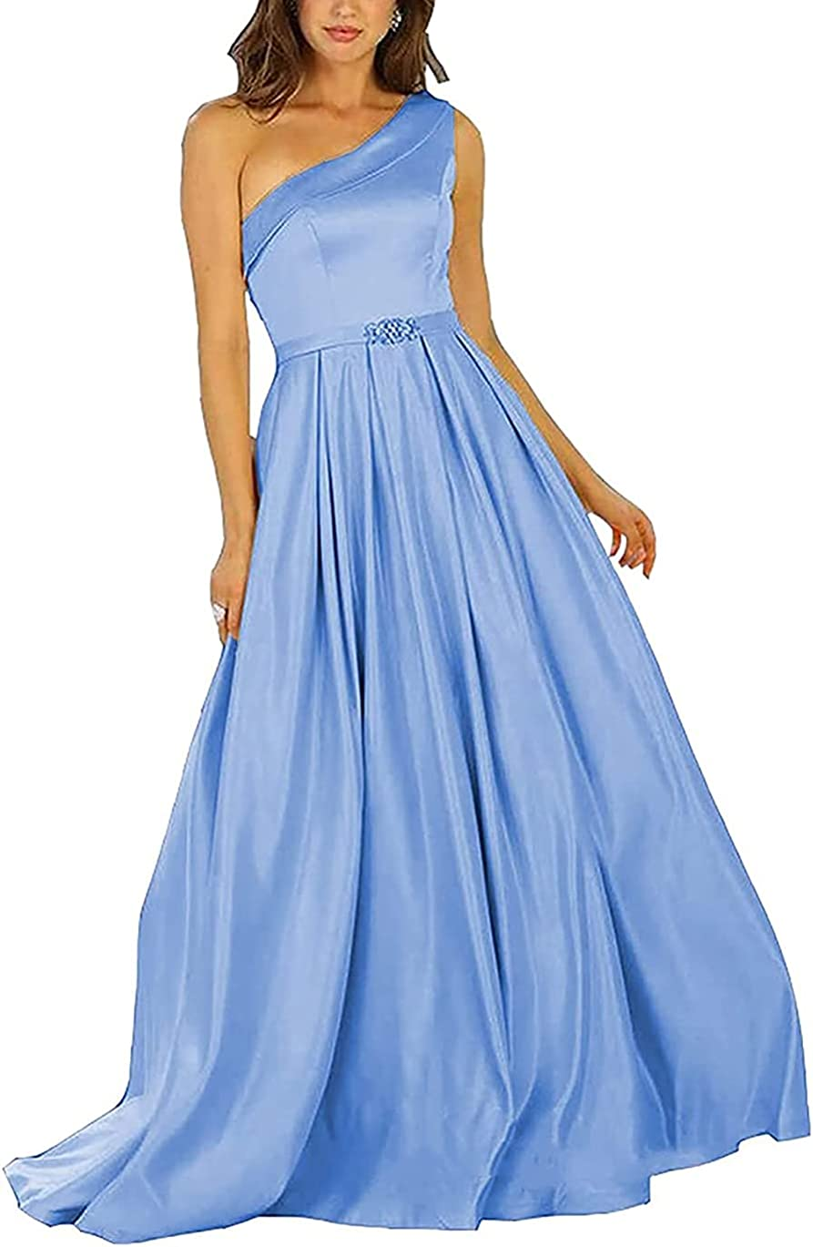 Acmesis Women's One Shoulder Prom Dresses Satin Sexy Formal Evening Prom Party Gowns KA13