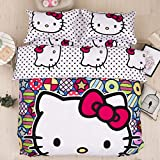 Casa 100% Cotton Kids Bedding Set Girls Hello Kitty Duvet Cover and Pillow Cases and Fitted Sheet,4 Pieces,Full