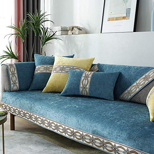 YUTJK Acrylic Bright Color Sofa Cover,Sofa Protector,Sofa Covers That Fit Most Sofas,Easy to Use,For leather sofas,Blue