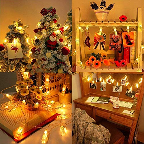 Hezbjiti LED Photo String Lights - 20 Photo Clips USB Powered Lights, Wedding Party Home Decor Lights for Hanging Photos, Cards and Artwork (8.6 Feet, Warm White)