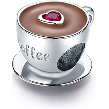 VOROCO 925 Sterling Silver Jewelry Afternoon Tea Coffee Cup-Cake Hot-Chocolate Milk Sandwich Cubic Zircon Charms Beads Gifts for Women Girls fit Charms Pandora Bracelets