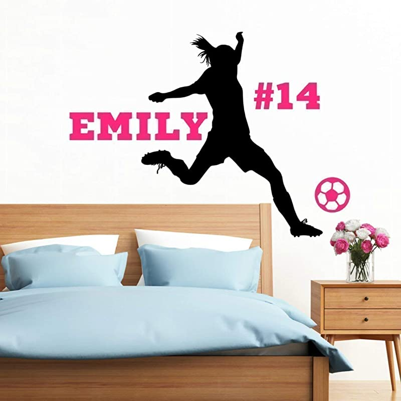 Personalized Girls Soccer Wall Decal Girls Futbol Gifts Over 30 Colors And Several Sizes To Choose From