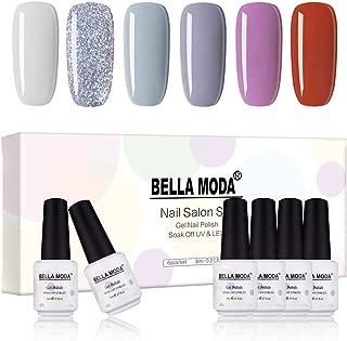 BELLA MODA 8ml Gel Nail Polish 6 Grey Color Soak Off UV Lamp Gel Polish Lacquer Sets BB-02
