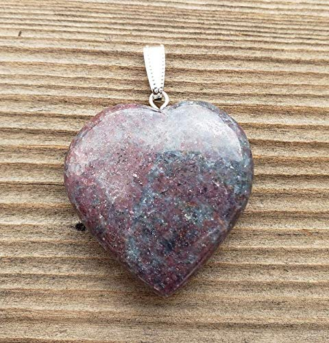 [A&S Crystals] Natural Ruby in KYANITE Gemstone Puffy Heart Pendant
