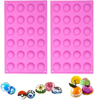 BAKER DEPOT Semicircle Silicone Mold for Chocolate Ice cube Jelly Pudding 24 Holes Dia: 0.95inch, Set of 2