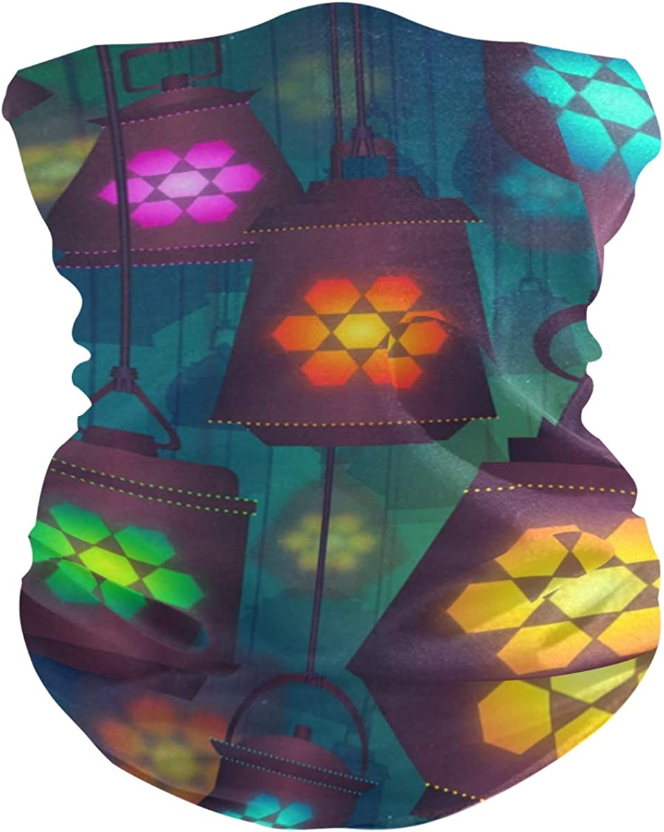 Protection Anti Droplet Lantern Lamp Colorful Light Face Mask Summer UV Neck Gaiter Scarf Sunscreen Breathable Bandana for Sport Outdoor