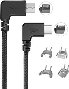 RCstyle 90 Degree Micro USB to Type-c Data Cable Right Angle Connector Cord, for DJI Mavic Mini/ 2 Pro/2 Zoom/Pro/DJI Spark Drone Remote Controller Accessories, Image Transmission Data Cable, 11.8IN
