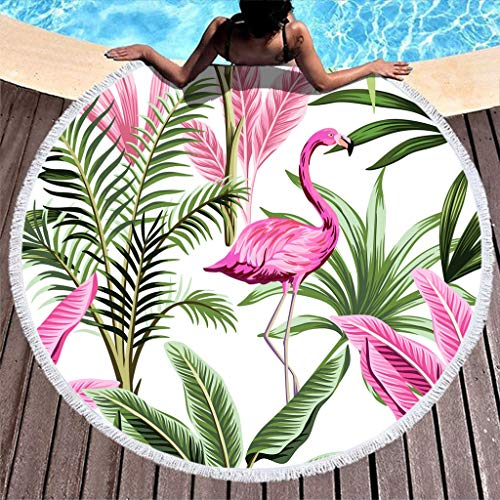 TengmiuXin Dicke runde Strandtücher Tropische Pflanzen und Flamingo Stranddecke Picknickmatte im Freien Ultraweich Outdoor & Camping Reisen Decke White 150cm