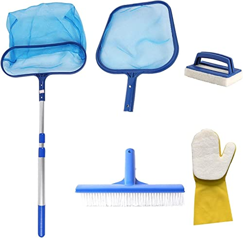 6 Pcs Swimming Pool Cleaner Supplies, Pool Cleaning Equipment, Pool Skimmer Net With Pole, Pool Cleaning Kit, Pool Nets for Cleaning, for Spa Pond Swimming Pool, Pool Cleaner Supplies and Accessories