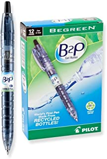 Pilot Bottle-2-Pen (B2P) Retractable Premium Gel Roller Pens Made from Recycled Bottles (12 Count Box) Fine Point, Black G2 Gel Ink, Refillable, Comfortable Grip (31600)