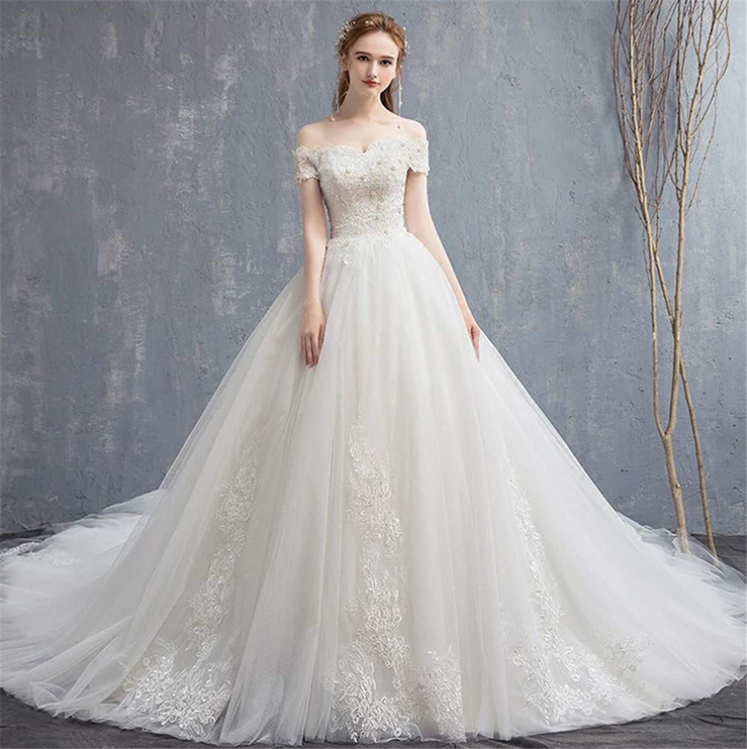 Wedding Dress, Europe and America Elegant Strapless Strap 3D Hand Embroidery high Quality Lace Trailing Church Wedding
