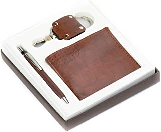 Lavanaya Silver- 3 in 1 Gift Set with Wallet,Metal Keychain and Pen-Brown Raksha Bandhan Special   Gift For Brother