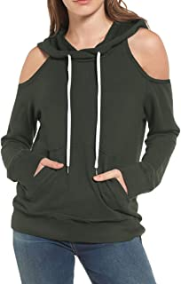 Women's Cut Out Cold Shoulder Pouch Pocket Drawstring Pullover Hoodie