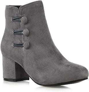 58bd558025932 ESSEX GLAM Womens Low Mid Block Heel Ankle Boots Ladies Zip Button Tie  Smart Work Office