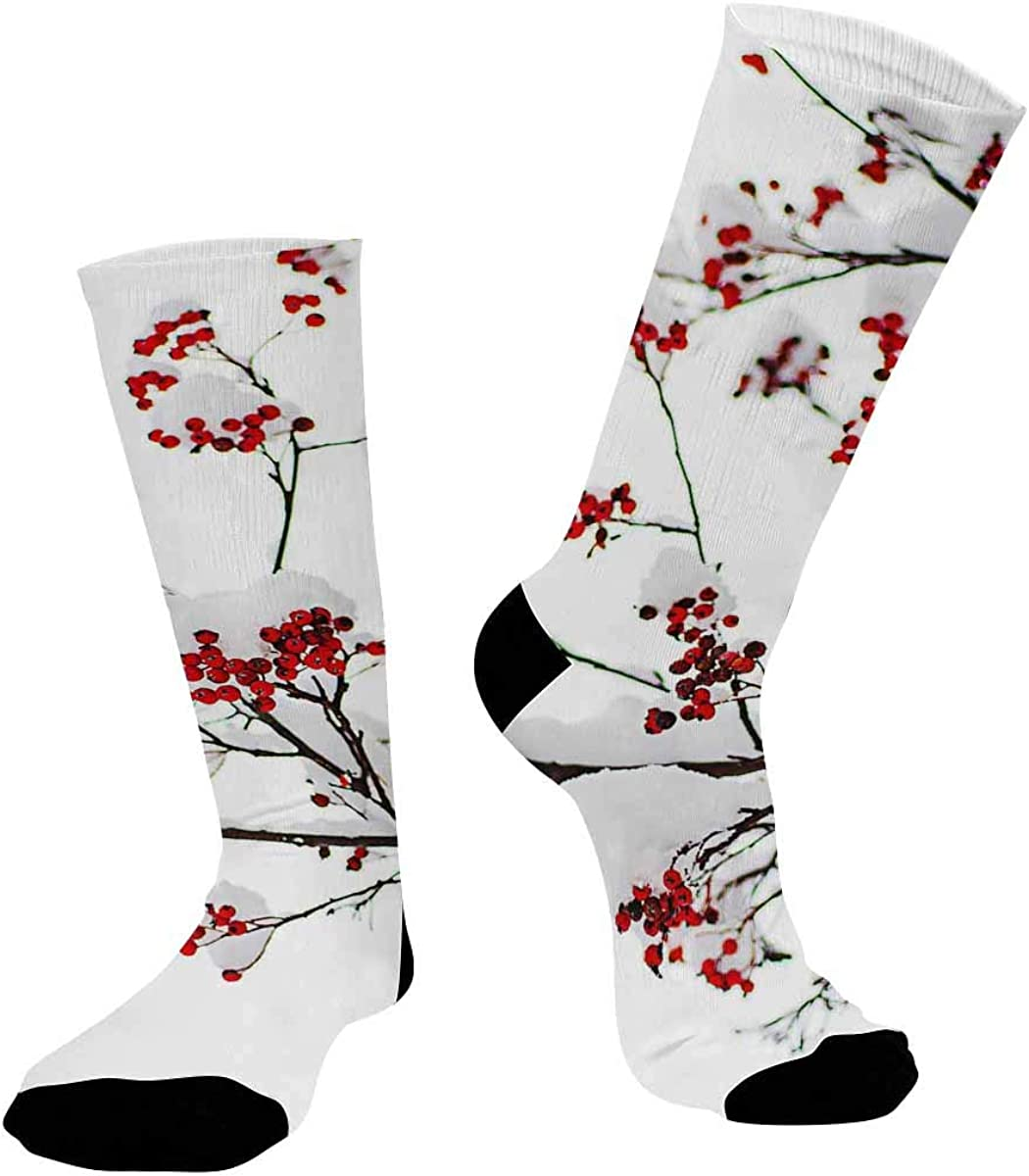 INTERESTPRINT Sublimated Crew Casual Athletic Socks Red Rowan Berry